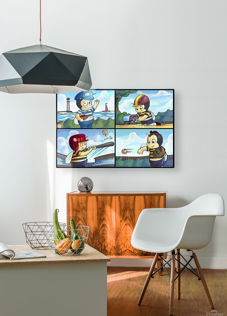 Buster the Bee on the Go   4 panel Favorites for Kids Room and Nursery   Bugville Critters  HD Metal print with Floating Frame on Back