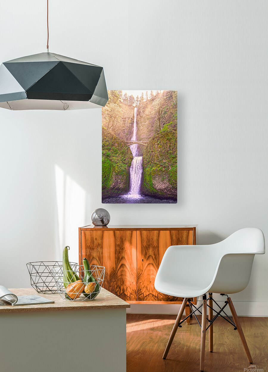 Multnomah Falls Bathed in Sunlight   Columbia River Gorge National Scenic Area   Oregon Pacific Northwest  HD Metal print with Floating Frame on Back