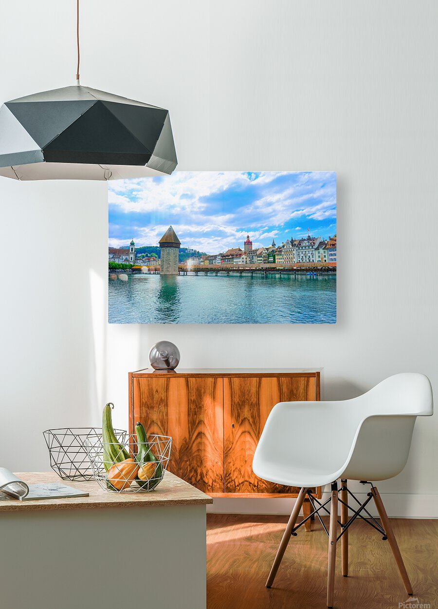 Chapel Bridge   Lucerne Switzerland  HD Metal print with Floating Frame on Back