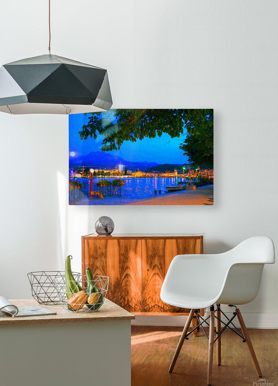 City Lights over Lake Lucerne Switzerland  HD Metal print with Floating Frame on Back