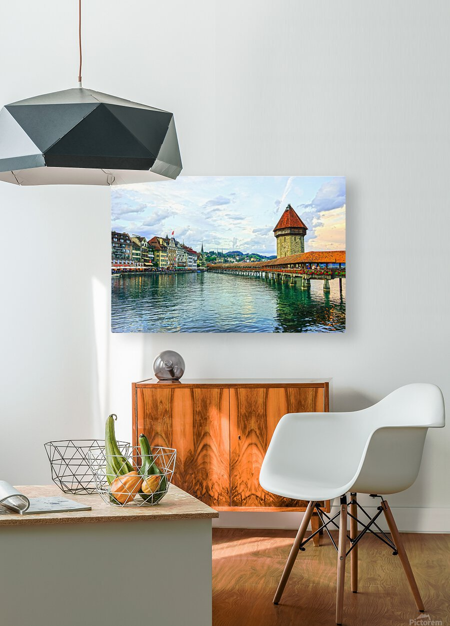 Chapel Bridge and Old Town at Sunset Lucerne Switzerland  HD Metal print with Floating Frame on Back