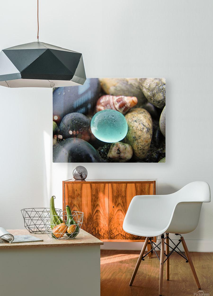 Sea Glass and Seashell  HD Metal print with Floating Frame on Back