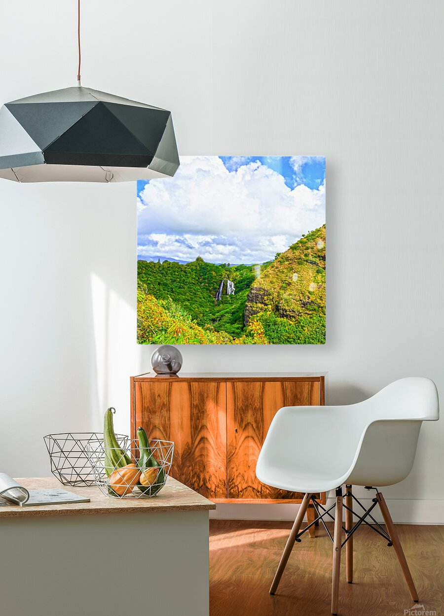 The Falls at the Mountain Overlook on Kauai Square  HD Metal print with Floating Frame on Back