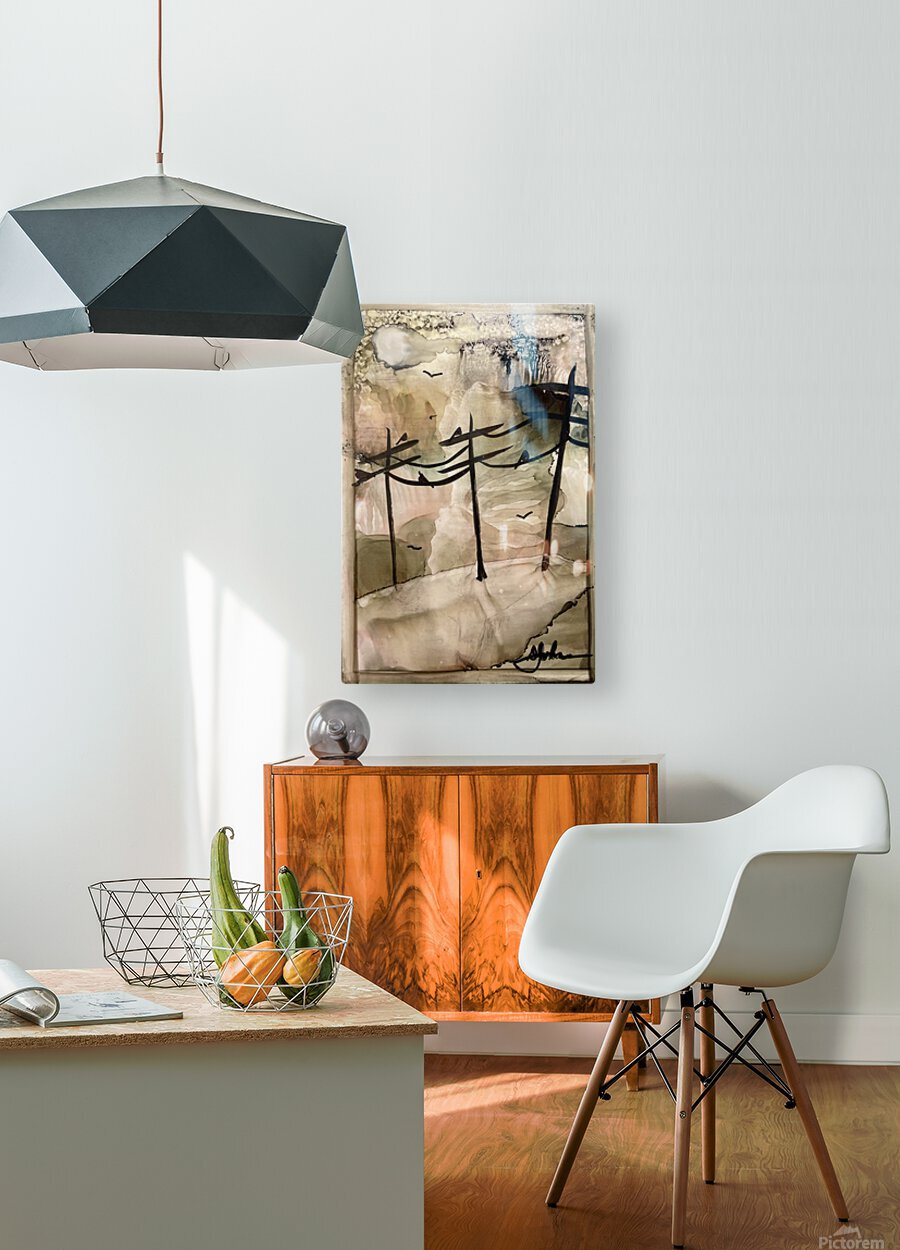 Telephone Pole Perches  HD Metal print with Floating Frame on Back