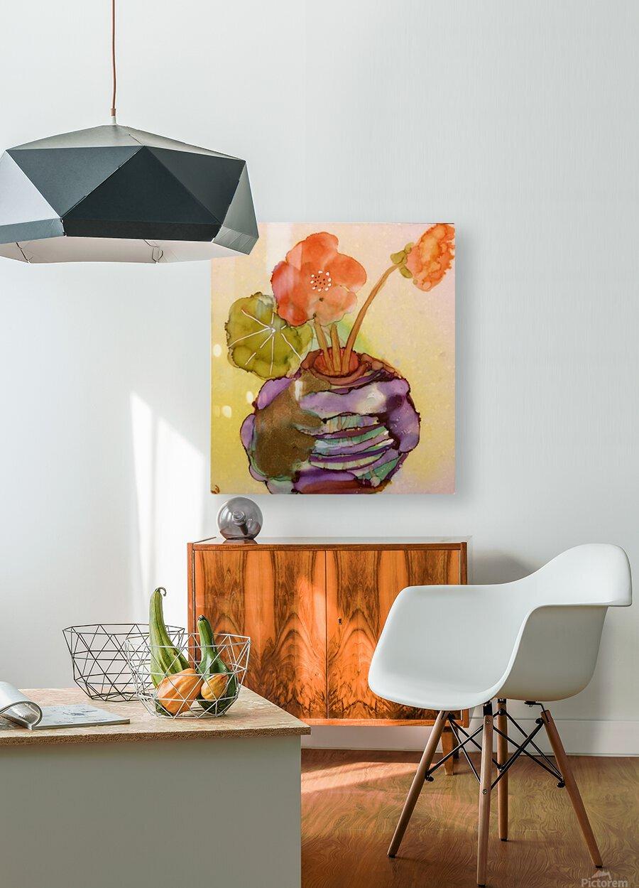 Orange Nasturiums  HD Metal print with Floating Frame on Back