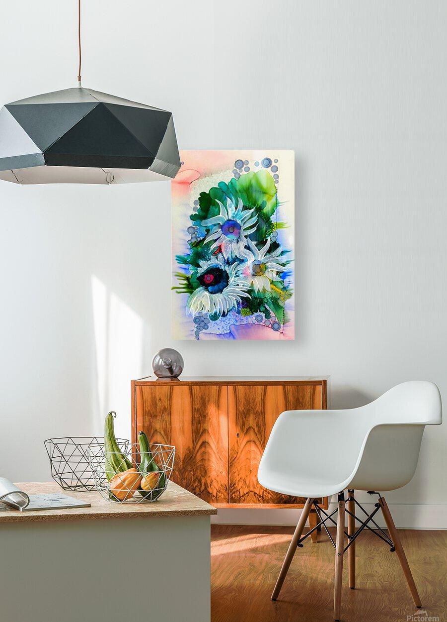 Floral Burst  HD Metal print with Floating Frame on Back