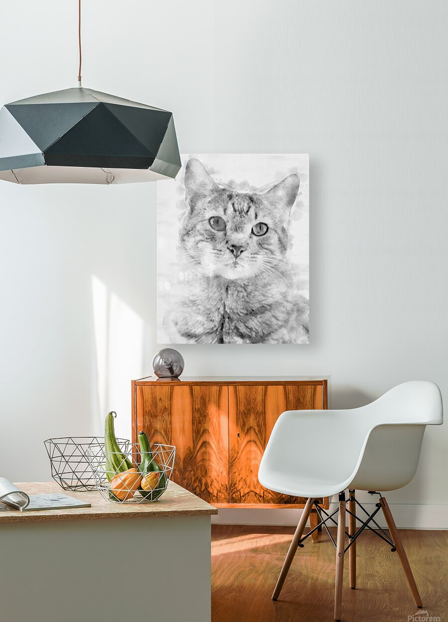 Kitten Noir  HD Metal print with Floating Frame on Back