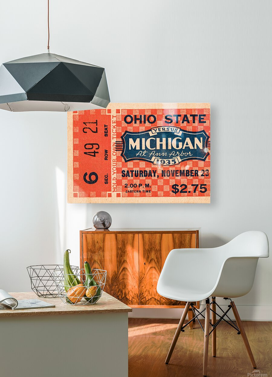 1935 Michigan Wolverines vs. Ohio State Buckeyes Ticket Art  HD Metal print with Floating Frame on Back