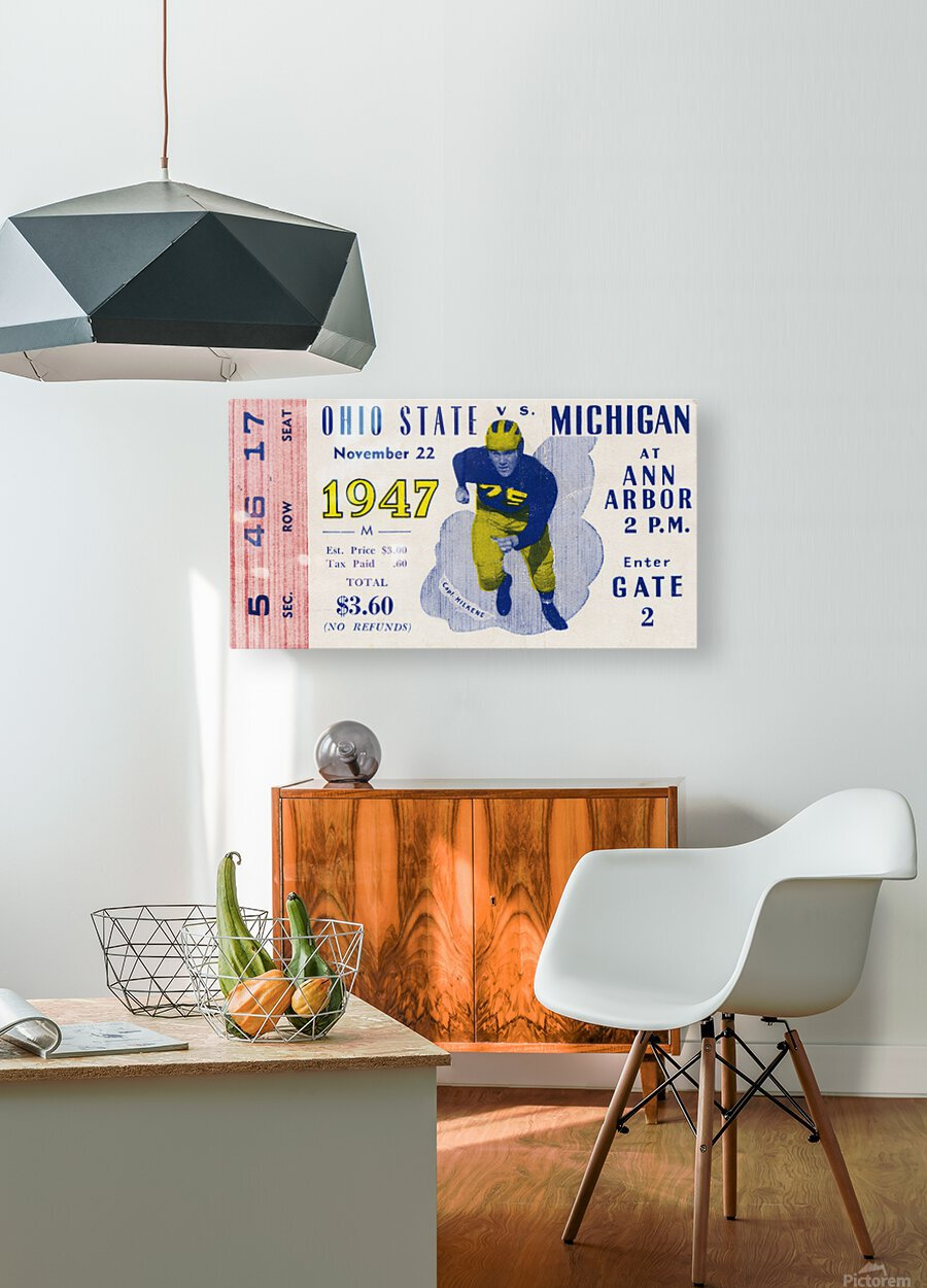 1947 Michigan Wolverines vs. Ohio State Buckeyes  HD Metal print with Floating Frame on Back