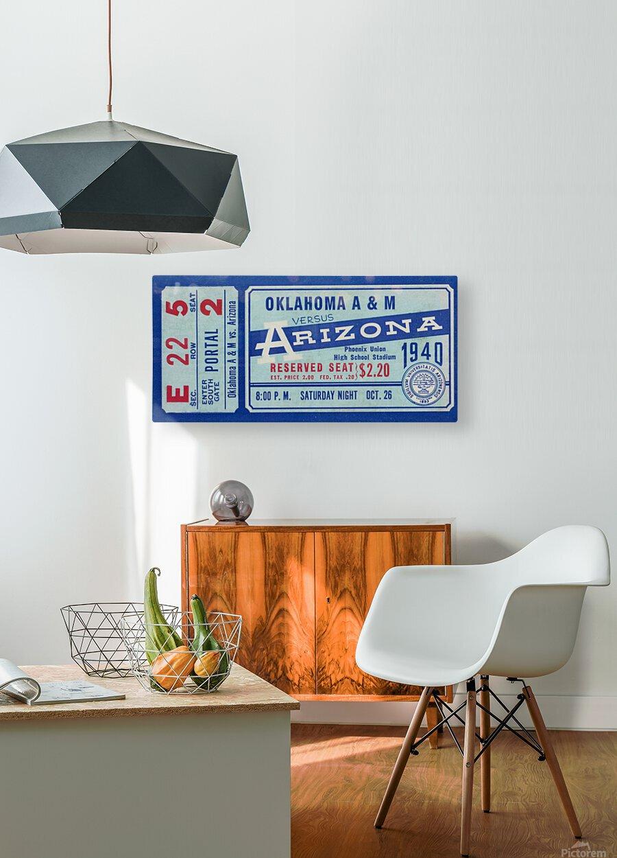 1940 Arizona Wildcats vs. Oklahoma A&M Aggies  HD Metal print with Floating Frame on Back