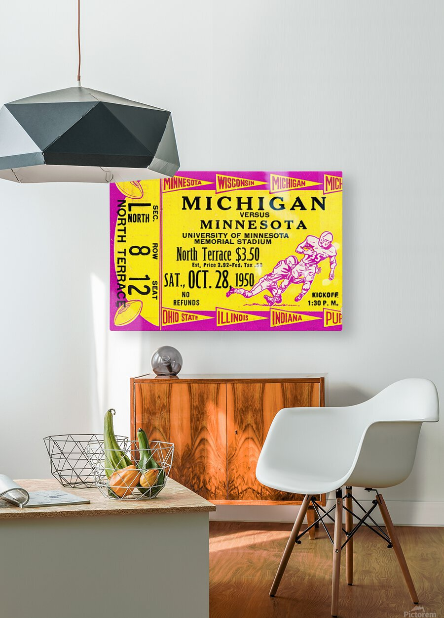 1950 Minnesota Golden Gophers vs. Michigan Wolverines  HD Metal print with Floating Frame on Back
