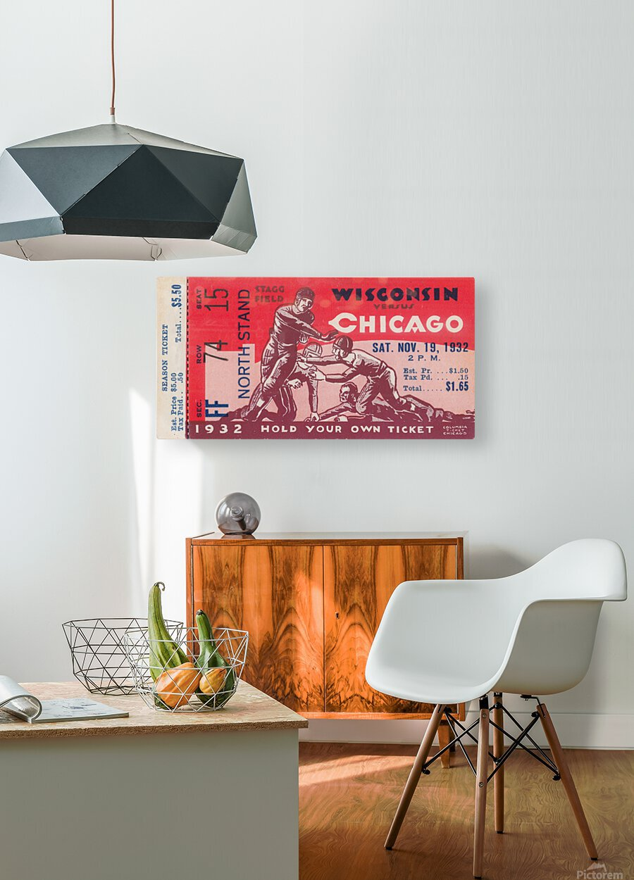 1932 Wisconsin Badgers vs. Chicago Maroons  HD Metal print with Floating Frame on Back