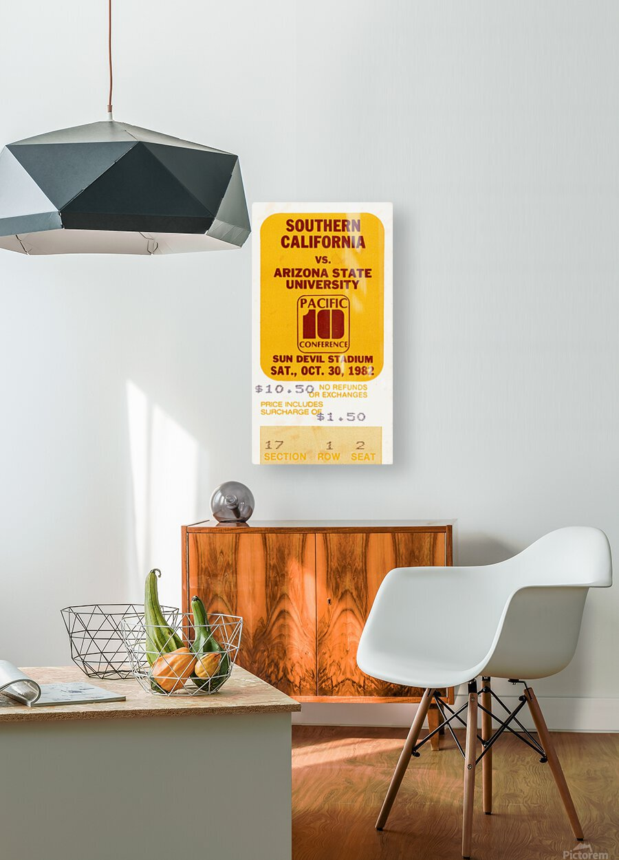 1982 USC vs. Arizona State Football Ticket Art  HD Metal print with Floating Frame on Back