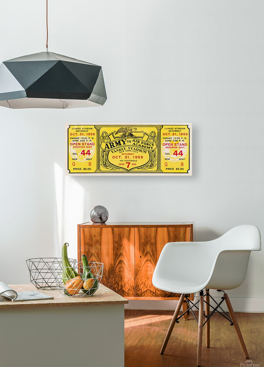 1959 Army vs. Air Force Football Ticket Art  HD Metal print with Floating Frame on Back