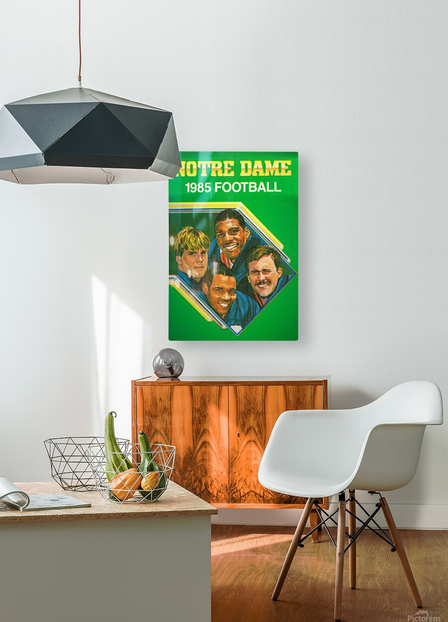 1985 Notre Dame Retro Football Poster  HD Metal print with Floating Frame on Back