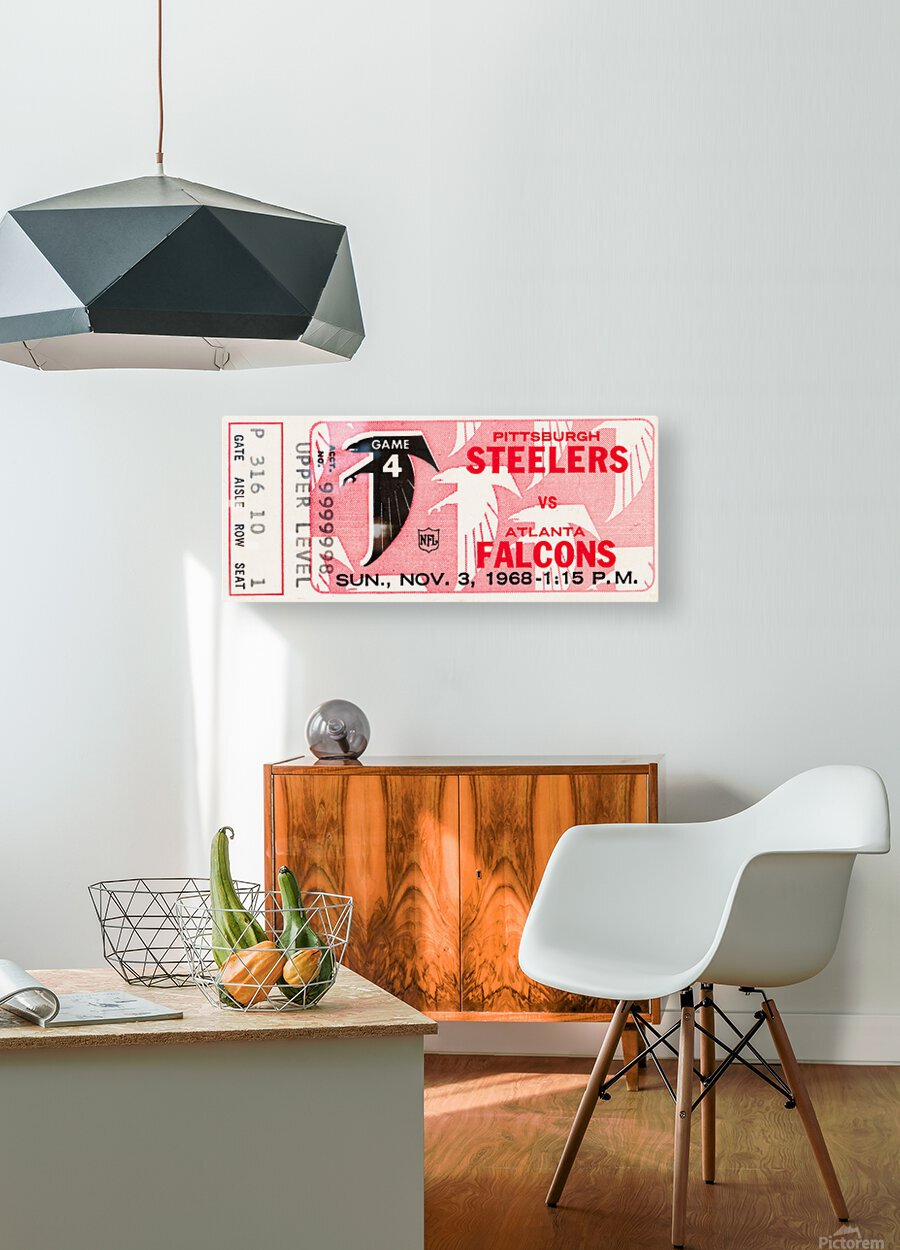 1968 Atlanta Falcons vs. Pittsburgh Steelers Ticket Art  HD Metal print with Floating Frame on Back