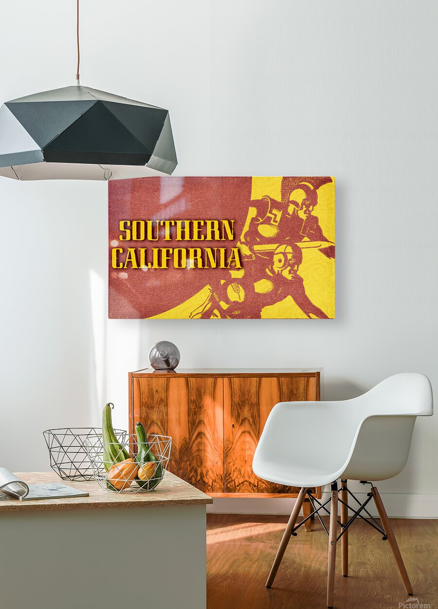 1936 Southern California Football Ticket Remix  HD Metal print with Floating Frame on Back