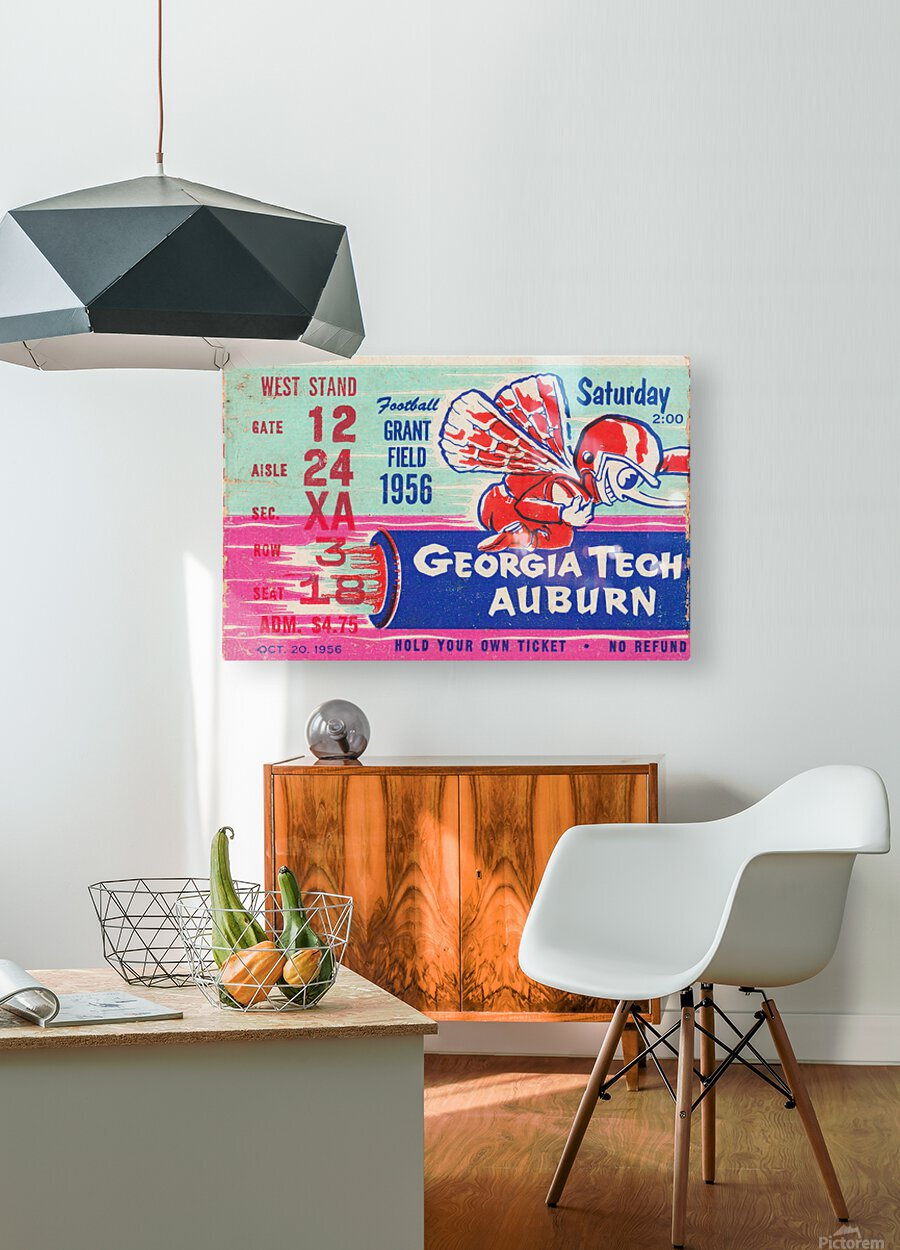 1956 Georgia Tech vs. Auburn Football Ticket Stub Art  HD Metal print with Floating Frame on Back