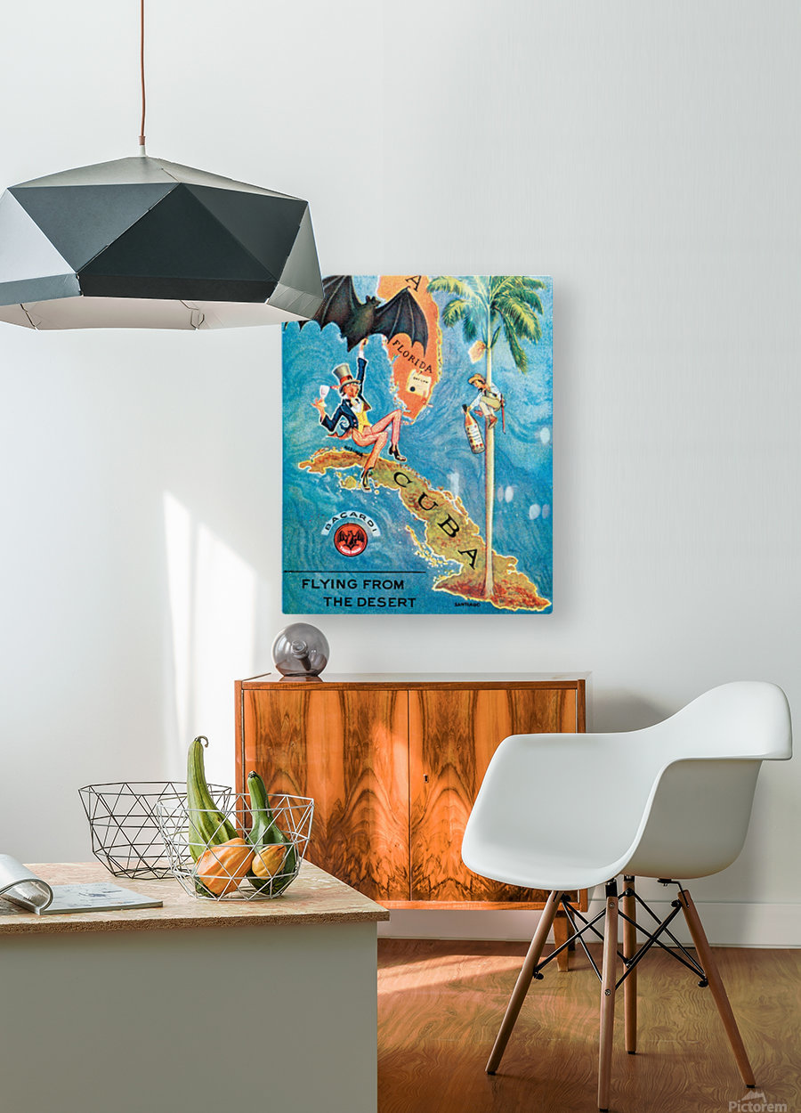 Visit Cupa vintage travel poster  HD Metal print with Floating Frame on Back