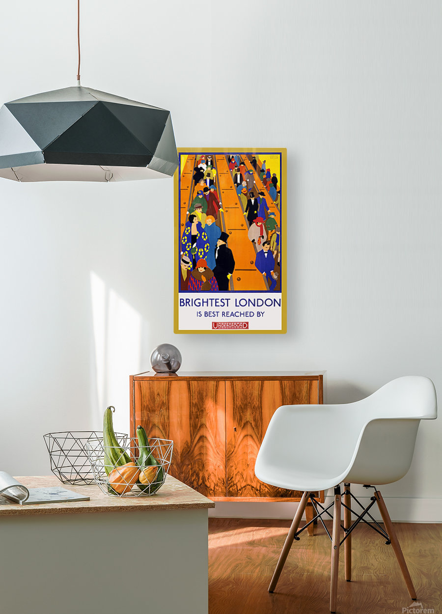 Brightest London travel poster  HD Metal print with Floating Frame on Back