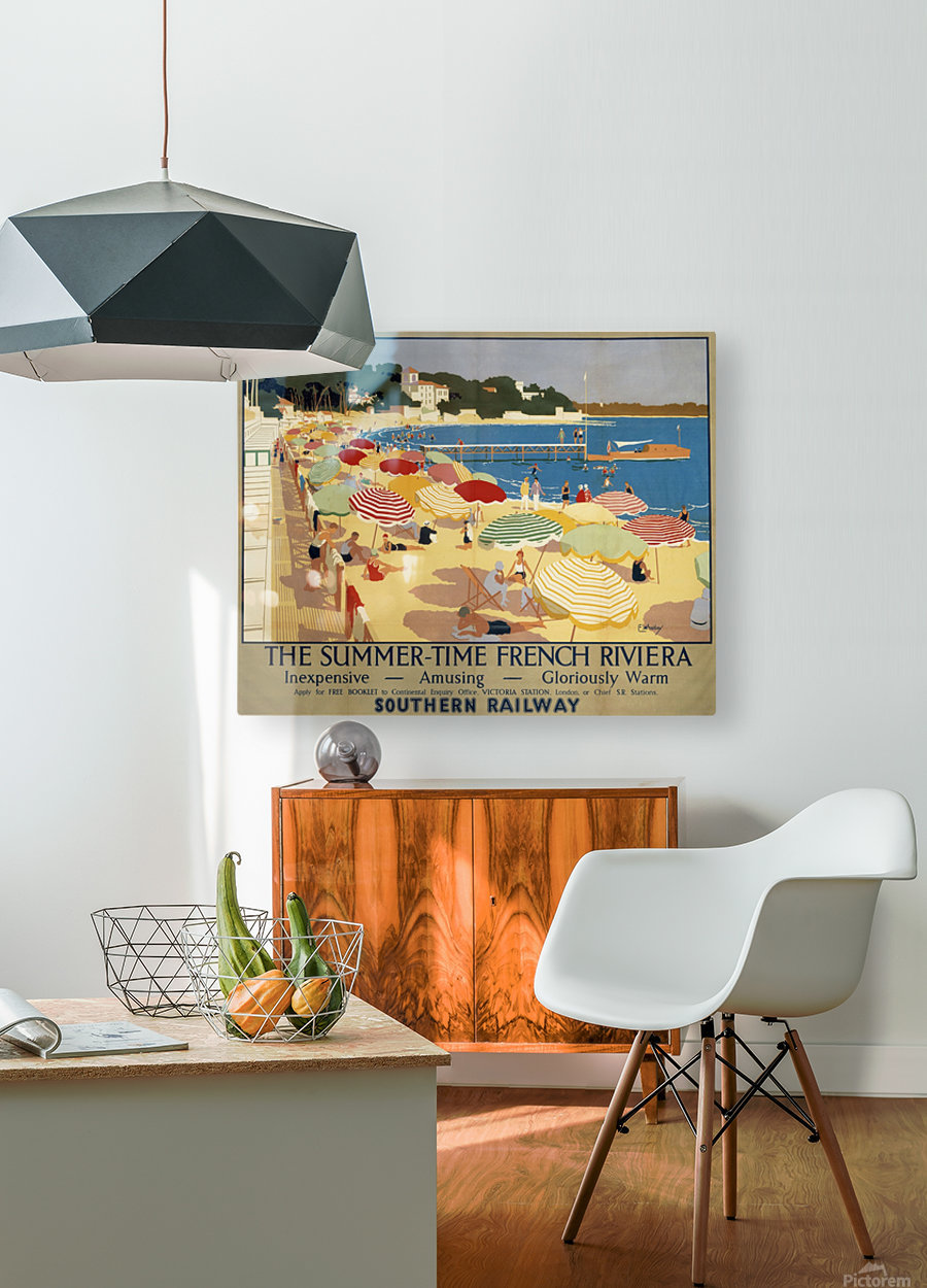 The Summertime French Riviera Southern Railway travel poster  HD Metal print with Floating Frame on Back