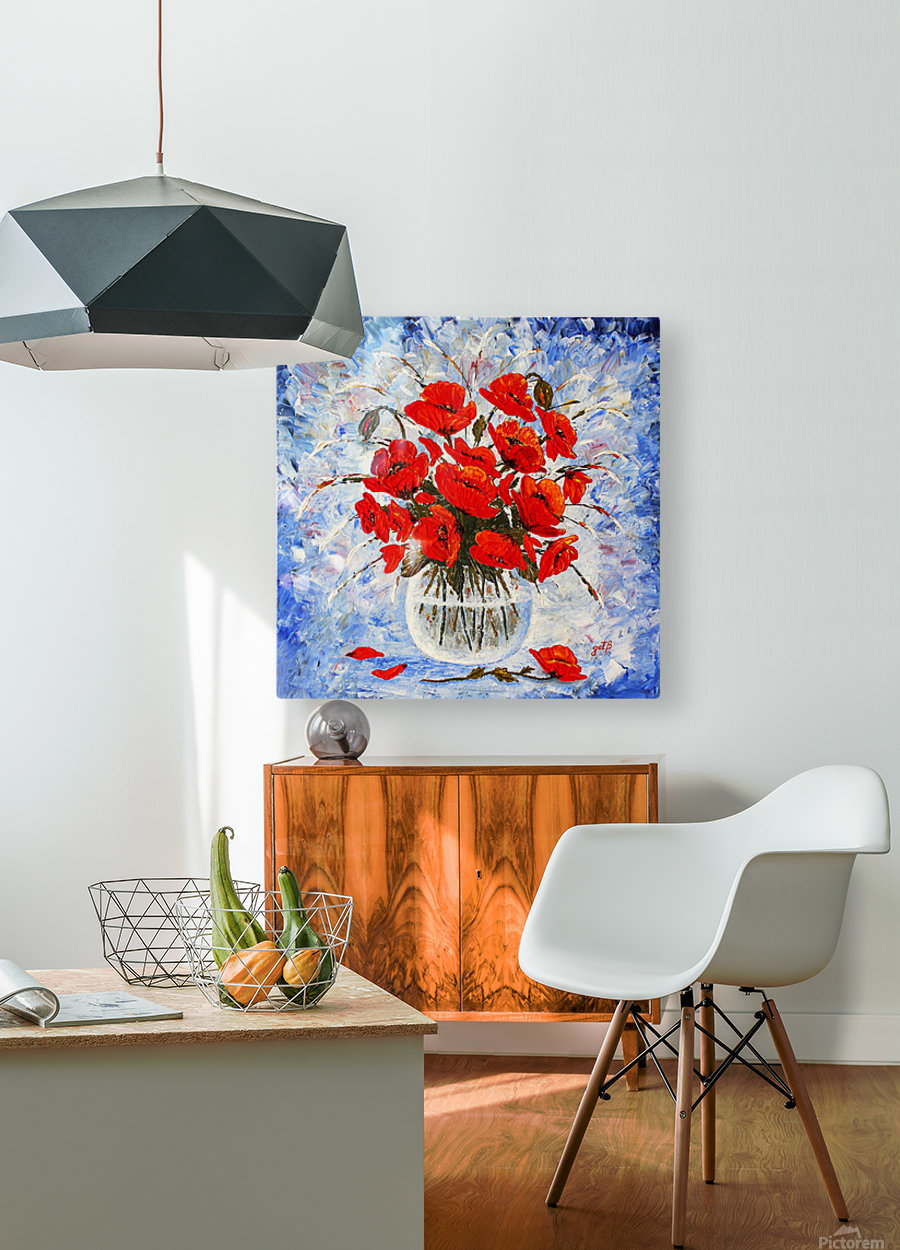 Morning Red Poppies original palette knife painting  HD Metal print with Floating Frame on Back
