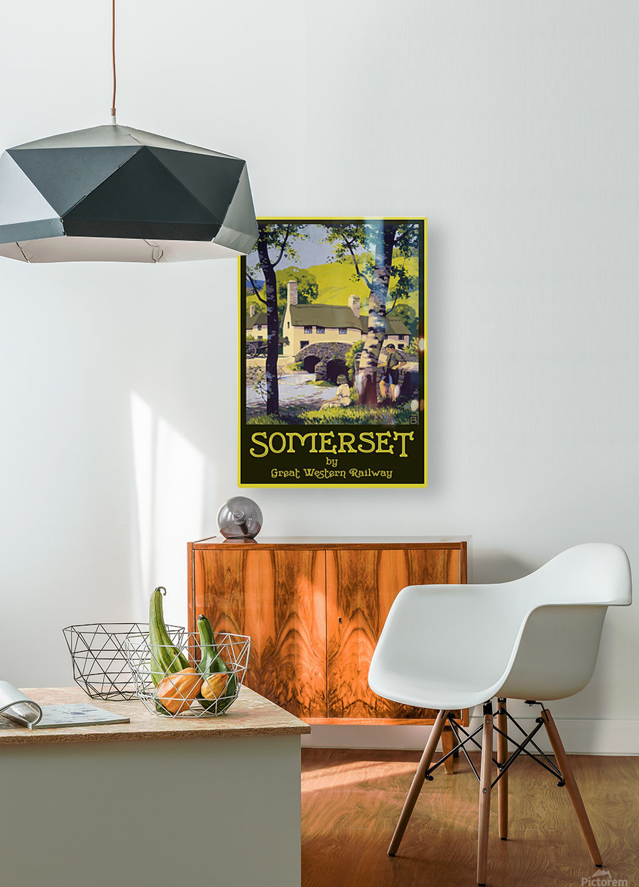 Great Western Railway Somerset travel poster  HD Metal print with Floating Frame on Back
