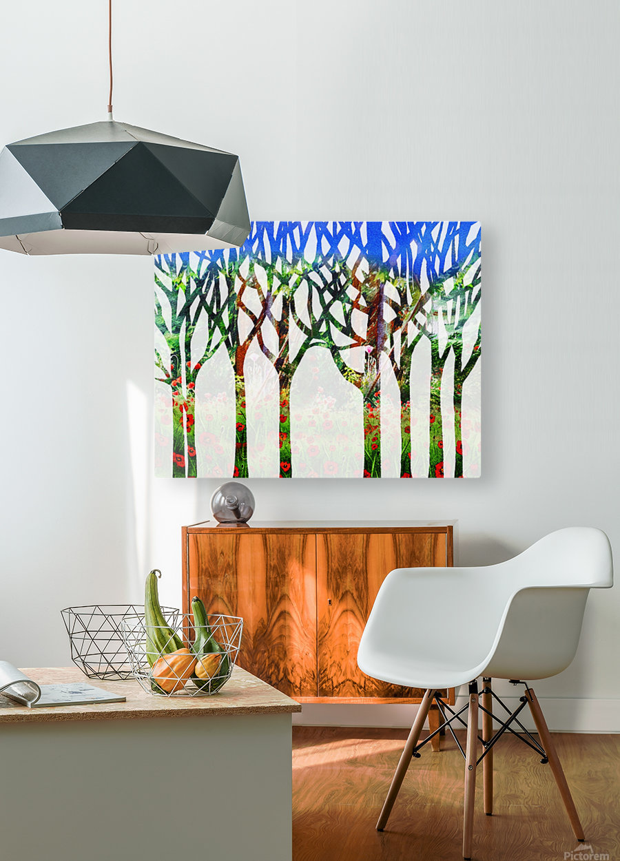 Watercolor Forest Silhouette Summer  HD Metal print with Floating Frame on Back
