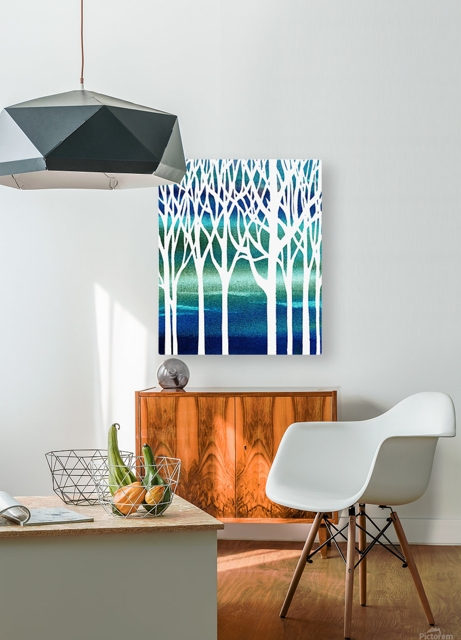 Blue Teal Forest   HD Metal print with Floating Frame on Back
