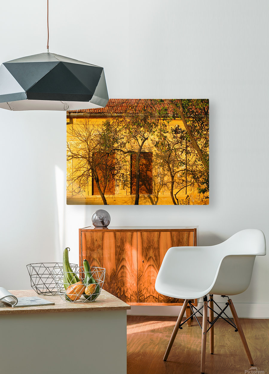Autumn day in old town Varias  HD Metal print with Floating Frame on Back