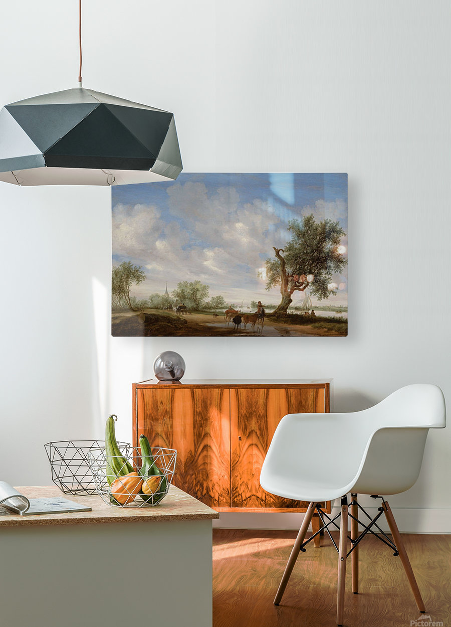 Landscape with a Road alongside a River  HD Metal print with Floating Frame on Back
