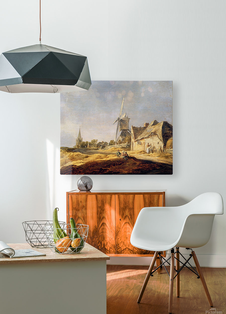 View on country road Sun  HD Metal print with Floating Frame on Back