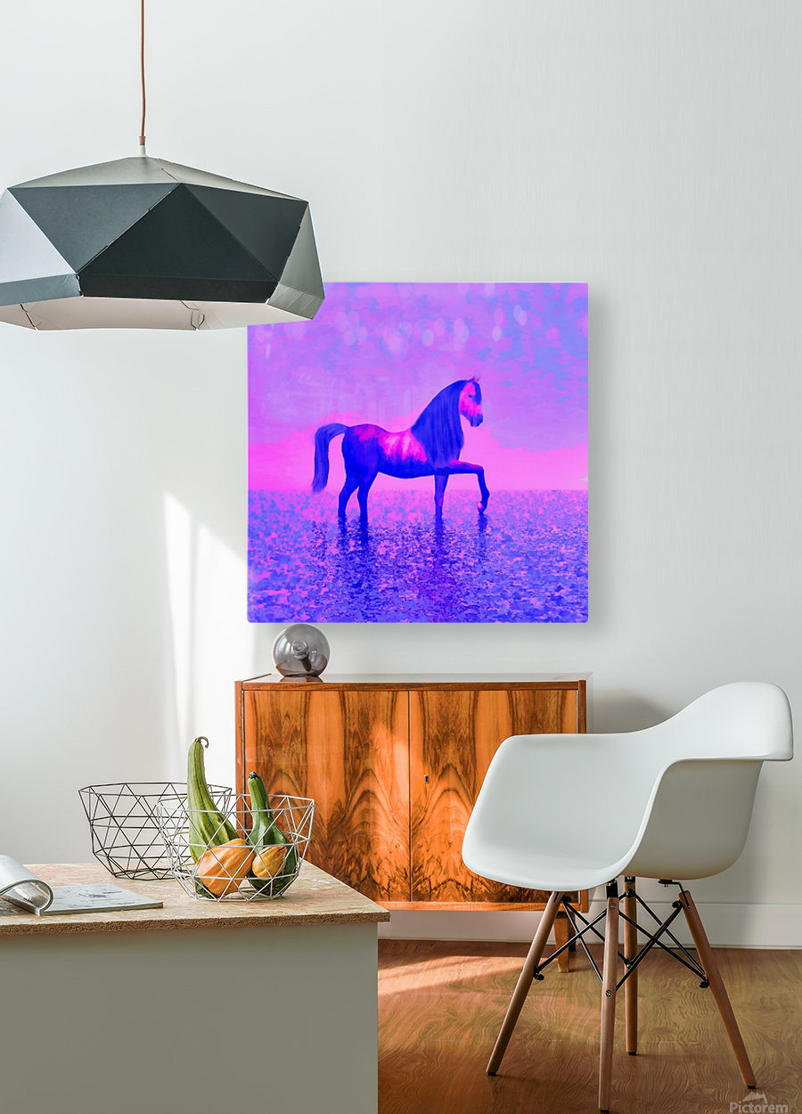 lonely horse  HD Metal print with Floating Frame on Back
