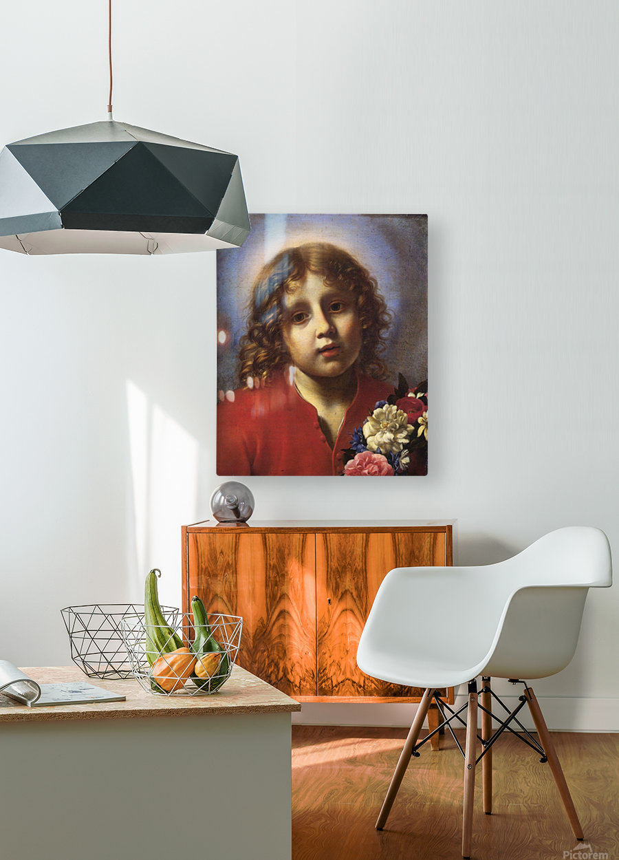 Child with flowers  HD Metal print with Floating Frame on Back