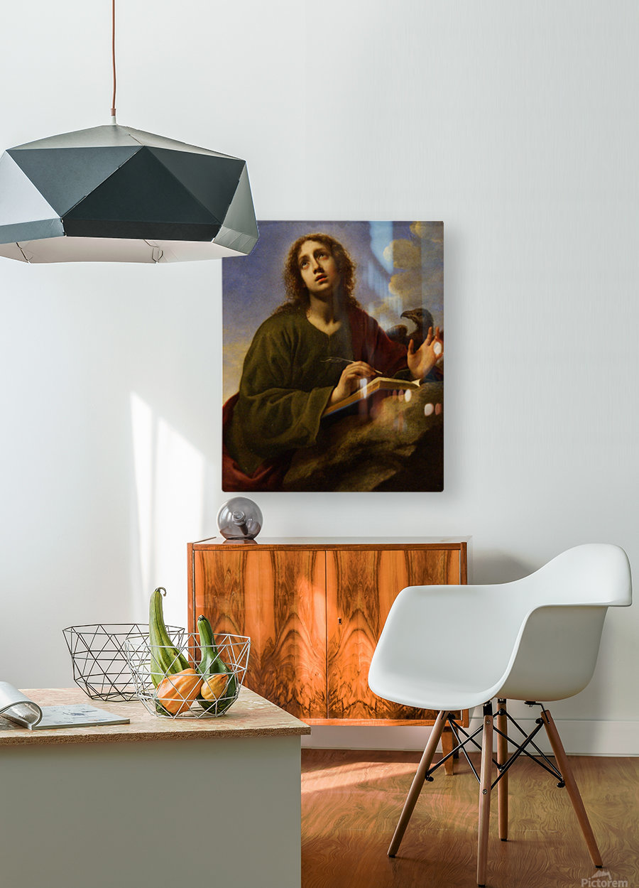Saint John the Evangelist Writing the Book of Revelation  HD Metal print with Floating Frame on Back