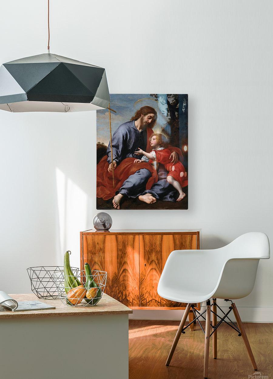 San Giuseppe mostra la croce a Gesu Bambino  HD Metal print with Floating Frame on Back
