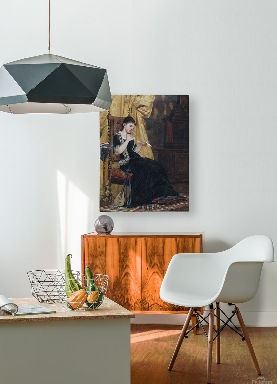 Junge Dame mit Brief  HD Metal print with Floating Frame on Back