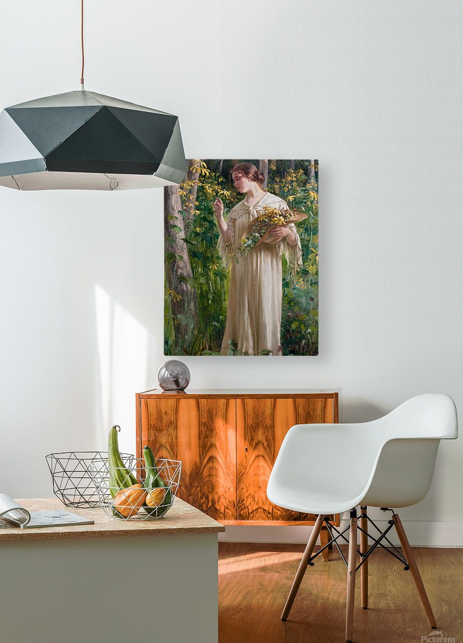 Lady in forest  HD Metal print with Floating Frame on Back
