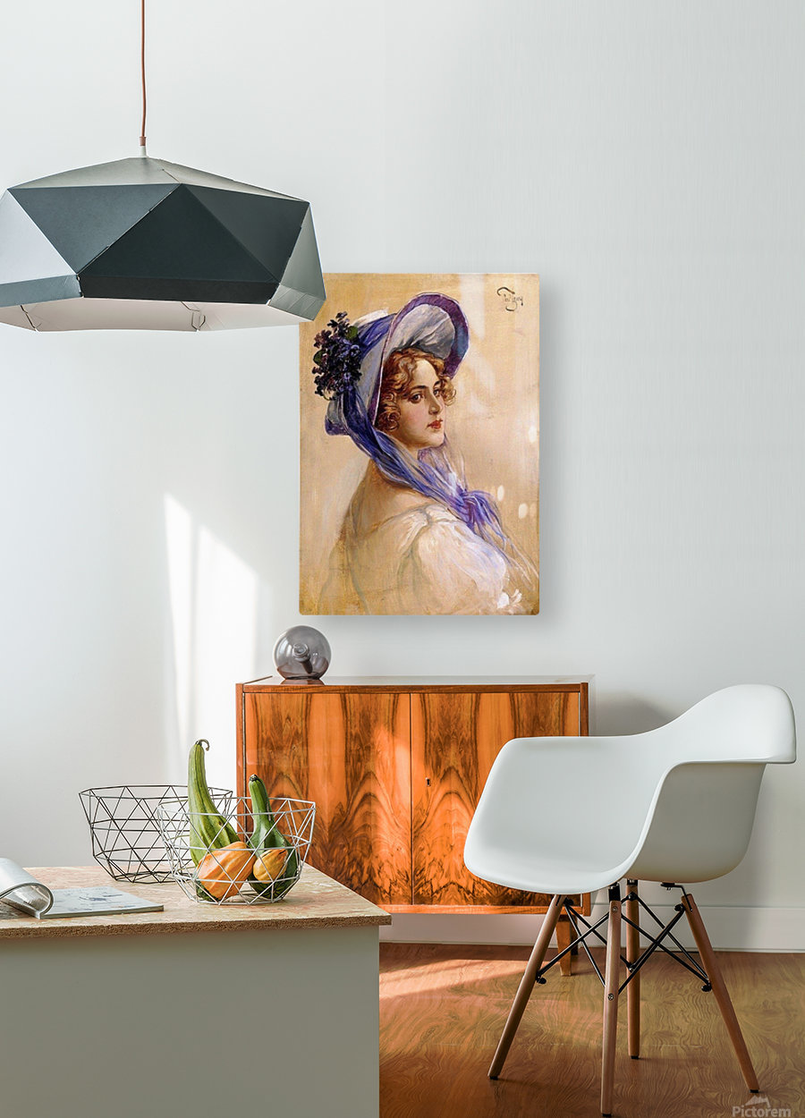 Youbg lady with purple hat  HD Metal print with Floating Frame on Back