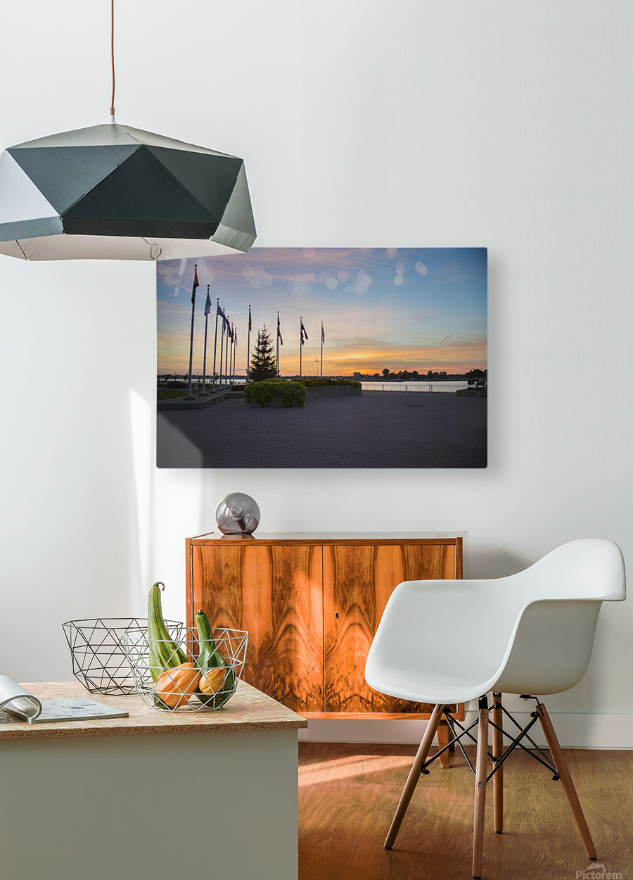 Sunset on the Lake  HD Metal print with Floating Frame on Back