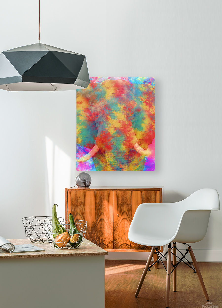 Abstract Elephant  HD Metal print with Floating Frame on Back