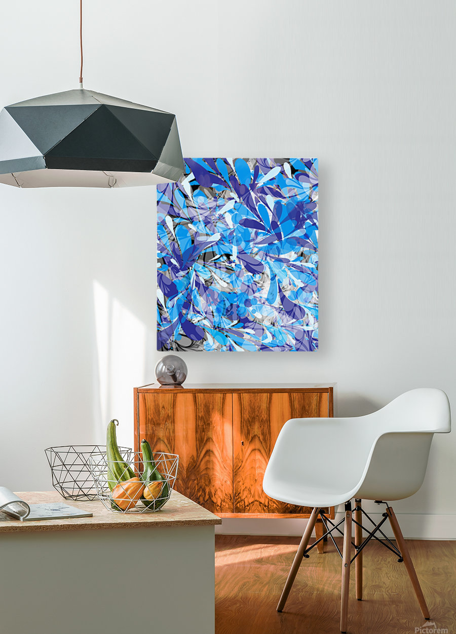 Abstract Floral  HD Metal print with Floating Frame on Back