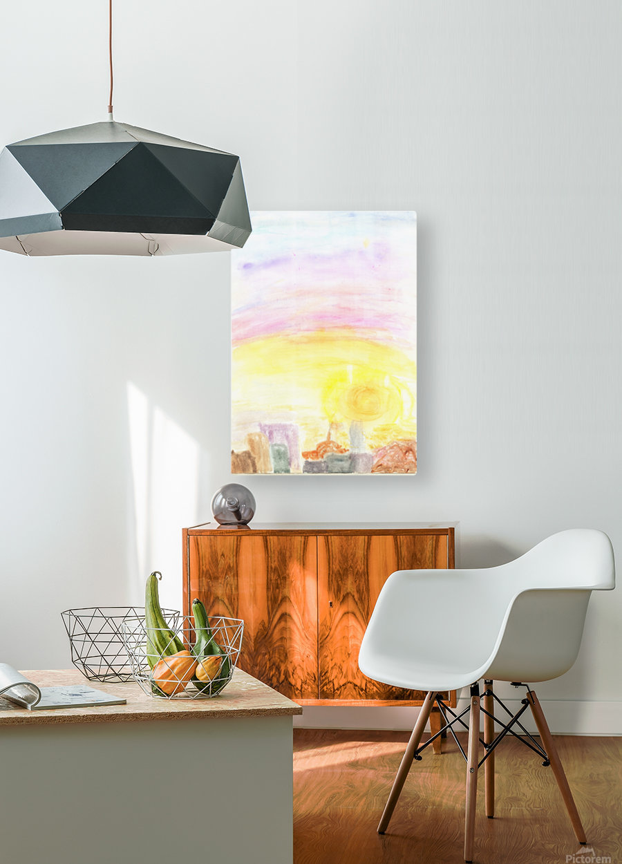 Sunset over the city  HD Metal print with Floating Frame on Back