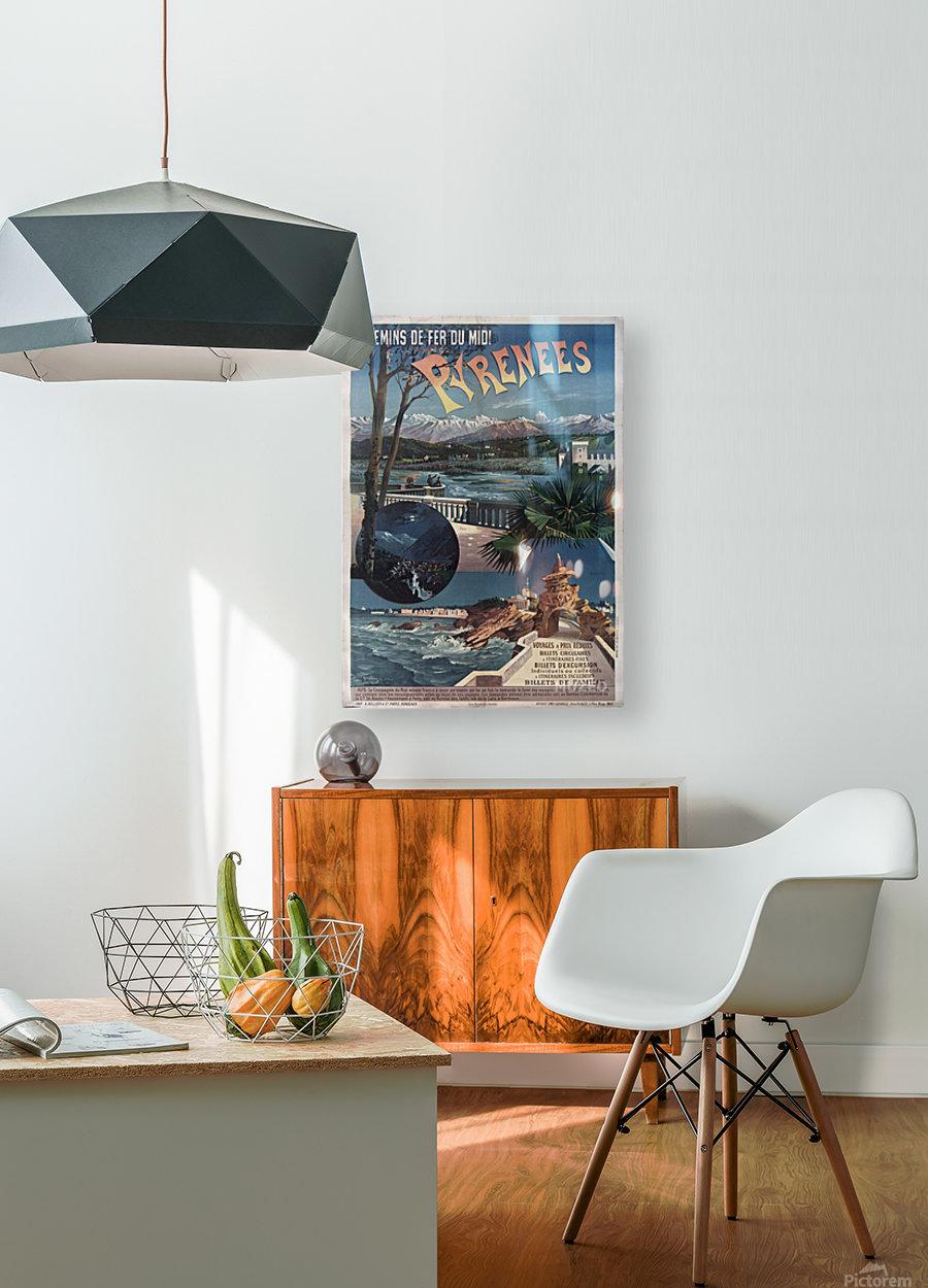 Chemins de fer du midi Pyrenees vintage poster  HD Metal print with Floating Frame on Back
