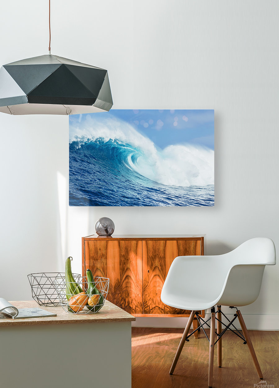 A large ocean wave breaks at the big wave spot know as Jaws or Peahi; Maui, Hawaii, United States of America  HD Metal print with Floating Frame on Back