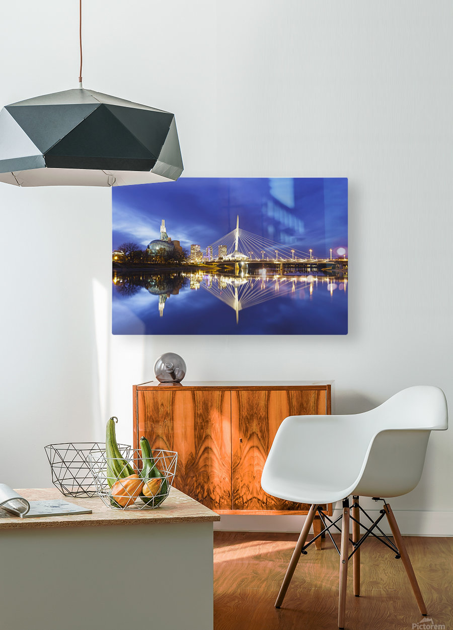 Canadian Museum for Human Rights and Esplanade Riel bridge reflected in the Red River; Winnipeg, Manitoba, Canada  HD Metal print with Floating Frame on Back