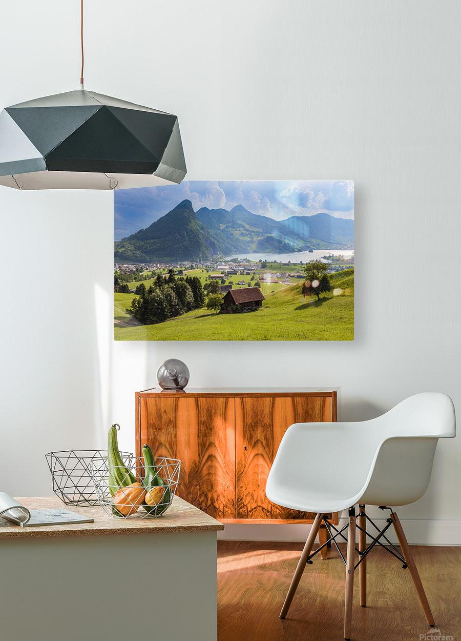 Seewen, a village on Lake Lauerz; Schwyz Canton, Switzerland  HD Metal print with Floating Frame on Back