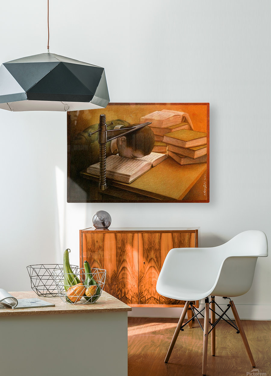 Book  HD Metal print with Floating Frame on Back