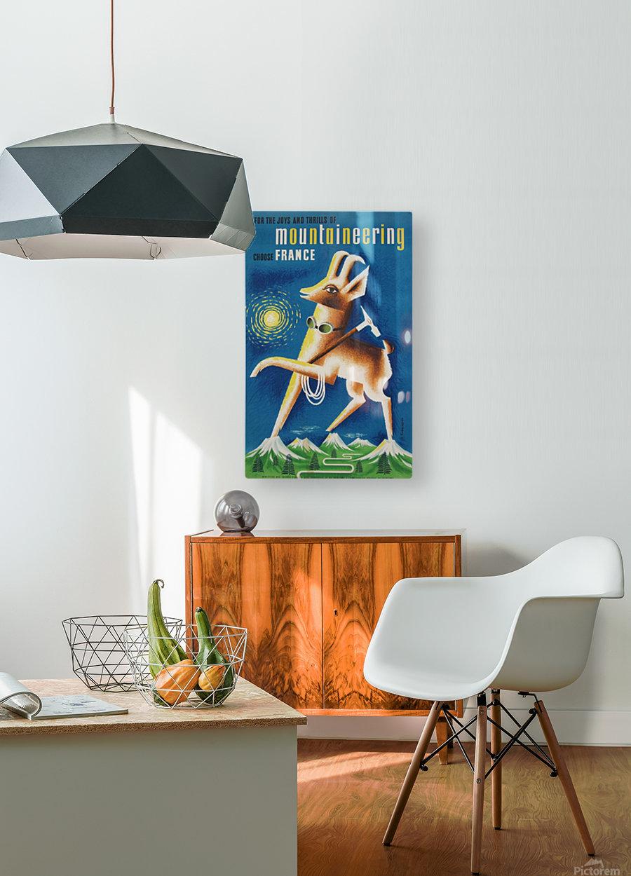 Mountaineering Choose France original vintage poster  HD Metal print with Floating Frame on Back