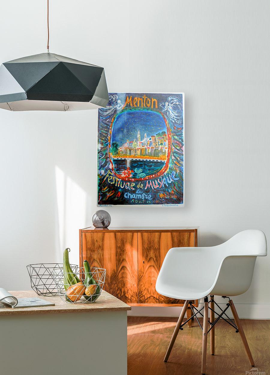 Menton Festival de Musique original advertising poster  HD Metal print with Floating Frame on Back